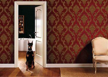 0.53*10M 거실 PVC 빨강과 금 색깔, ISO SGS를 가진 이동할 수 있는 벽지
