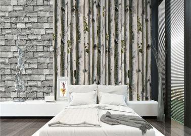 회색 자작나무 가정 3d 벽지/유독한 거실 벽지 열 절연제 없음
