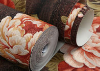 Flora Washable Vinyl Wallpaper / PVC Wall Covering Country Style For Bedroom , Deep Embossed