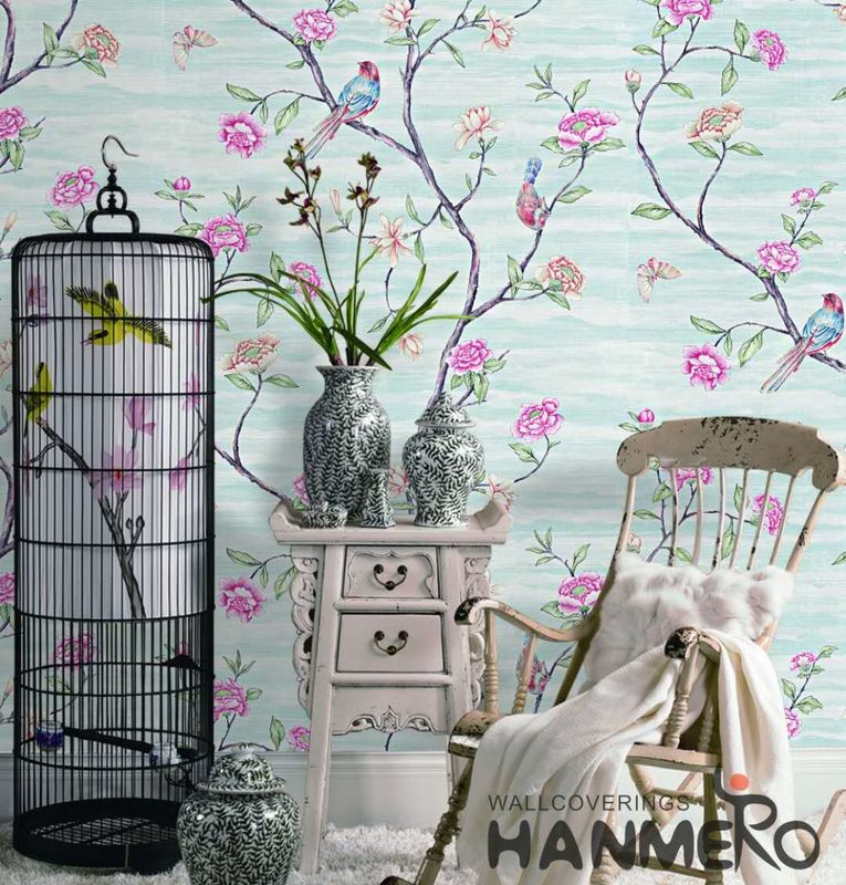 Embossed Vinyl Wallpaper Flowers And Birds Soil Case Classic Style